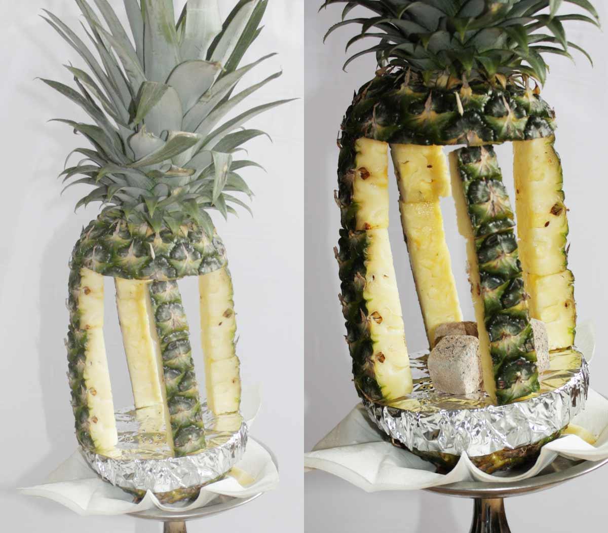Fruchtkopf Ananas auf der Shisha